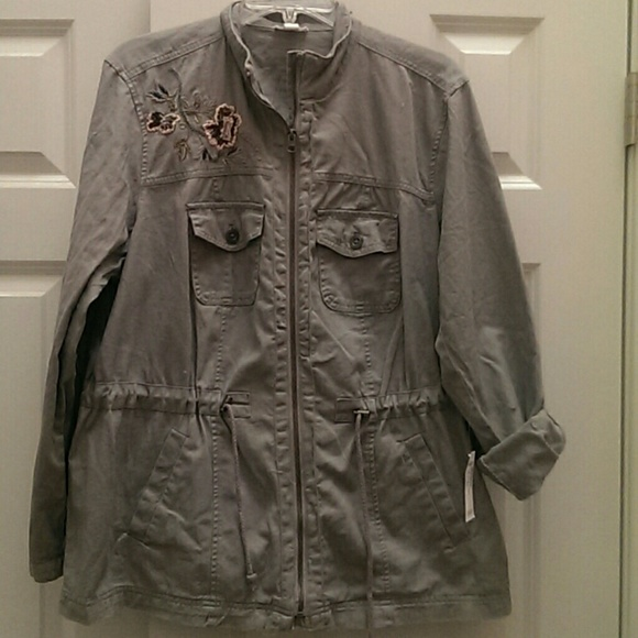 041fbb1d0f Gray floral embroidered utility jacket